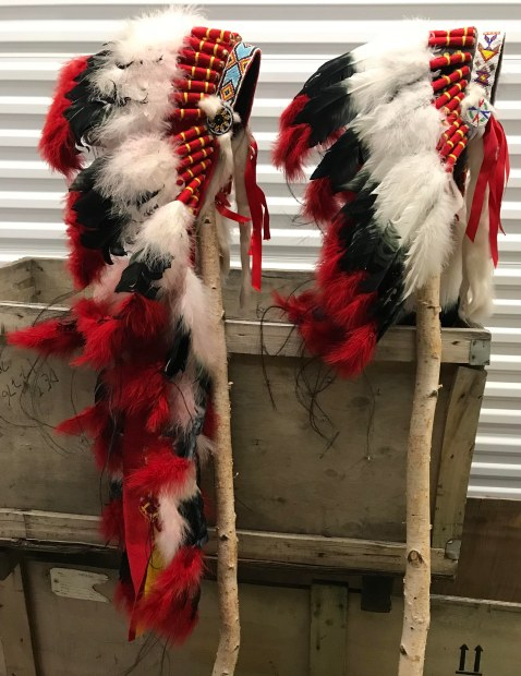 Headdress Box marked Federation Chief Daughter and Son _ Four Feather Nation Storage Unit October 2017 _IMG_6092