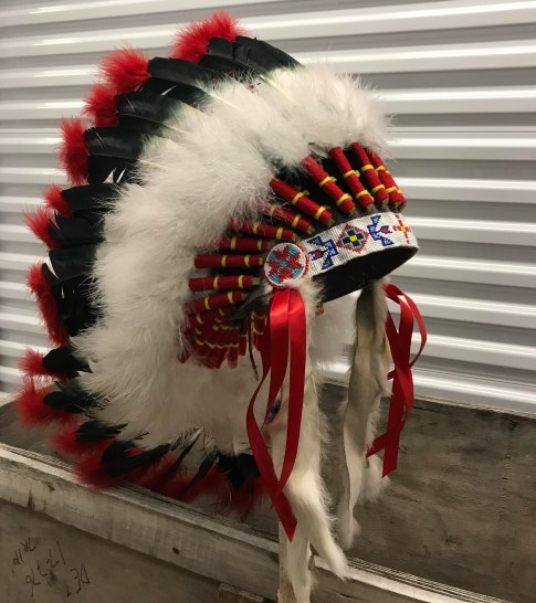 Headdress #7 Alliance Chief 1 Adult 1 kid _ Four Feather Nation Storage Unit October 2017 _IMG_1667